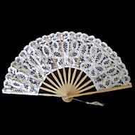 Fan Floral Lace Mão Branca