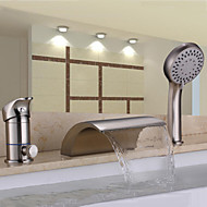 Contemporary Nickel Brushed Three Holes Single Handle Waterfall Handshower Included Bathtub Faucet with Hand Shower