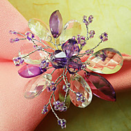 Set of 12 Graceful Floral Acrylic Beads Napkin Ring, Dia4.2-4.5cm