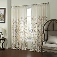 Country Two Panels Floral  Botanical White Bedroom Linen Panel Curtains Drapes