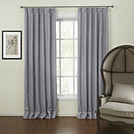 Two Panels European Solid Grey Living Room Linen Panel Curtains Drapes