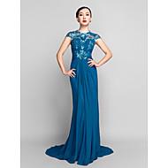 Formal Evening / Military Ball Dress Plus Size / Petite Sheath / Column Jewel Sweep / Brush Train Chiffon / Sequined withSide Draping /