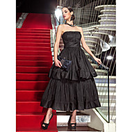 TS Couture Formal Evening Military Ball Dress - Vintage Inspired 1950s Celebrity Style A-line Strapless Tea-length Taffeta with Draping