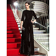 TS Couture® Formal Evening / Military Ball Dress - Black Plus Sizes / Petite A-line Jewel Floor-length Velvet