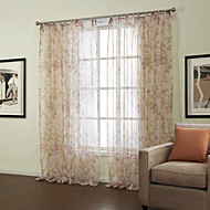 Country Two Panels Floral  Botanical Pink Bedroom Sheer Curtains Shades