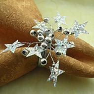 Hvězdy Svatební ubrousky Ring Set of 6, Pearl Dia 4,5 cm