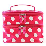 Fashion Women Portable Cosmetic Retro Dot Pattern Beauty Makeup Hand Case Bag