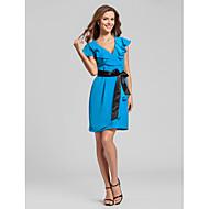 Short/Mini Chiffon Bridesmaid Dress - Ocean Blue Apple/Hourglass/Inverted Triangle/Pear/Rectangle/Plus Sizes/Petite/Misses Sheath/Column