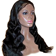 18 tommer Beatuiful Body Wave brasilianske Virgin Hair Limfritt Full Lace parykker Natural Black