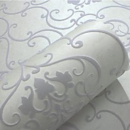 Damask Wallpaper For Home Classical Wall Covering , Velvet Flocked Material Adhesive required Wallpaper , Room Wallcovering