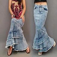 Women's Bohemia Fashion Mermaid Tassel Maxi Jeans Skirt