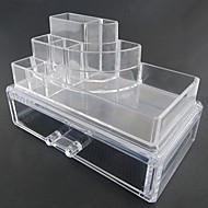 Meikkien säilytys Cosmetic Box / Meikkien säilytys Muovi / Akryyli Yhtenäinen Quadrate 18.5 x 11.5 x 11.6 Bisque