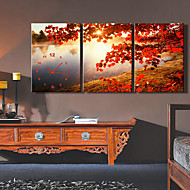 Modern Style High Class Maple Leaf Wall Clock in Canvas Set of 3