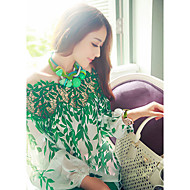 Women's Print Green/White Blouse,Casual Bateau Off Sleeve