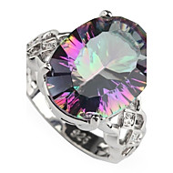 Fahion 925 ilver Plated Copper Rainbow Zircon Ring