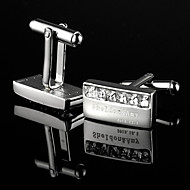 Personalized Gift Rectangle Silver Engraved Cufflinks with Rhinestone