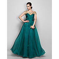 Formal Evening / Military Ball Dress - Elegant Plus Size / Petite A-line Bateau Floor-length Chiffon with Lace / Criss Cross