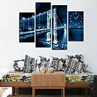 Modern Style Blue Night Wall Clock in Canvas 4pcs