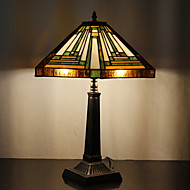 60W Traditionell Tiffany Glas Light med harts Stand
