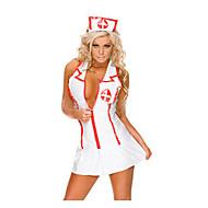 Sexy Nurse White Polyester Costume  (2 Pieces)