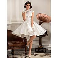 A-line Princess Jewel Knee Length Satin Wedding Dress with Beading by LAN TING BRIDE®