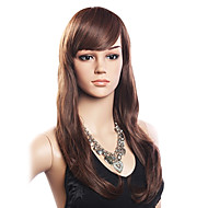High Quality 20% Human Hair & 80% Varmebestandige Fiber Hair Capless langt og bølget Wig (Dark Brown)