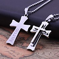 Personalized Gift   Stainless Steel   Three Layer Cross Shaped  Engraved Pendant Necklace Jewelry (Within 10 Characters)