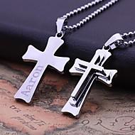 Personlig gave Stainless Steel Tre Layer Kors formet graveres vedhæng halskæde smykker (Inden for 10 tegn)