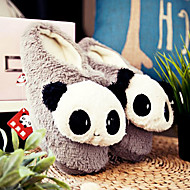 Söpö Grey Hymyilevä Panda Wool Miesten Slide Slipper