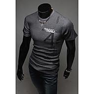 Herren T-shirt-Druck / Einfarbig Freizeit Baumwolle Lang-Grün / Rot / Weiß / Grau