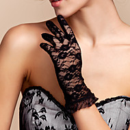 Wrist Length Fingertips Glove Lace Bridal Gloves Spring / Summer / Fall Black