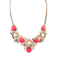 Fashion 2015 New Gold Plated Elegant Flower Pearl Crystal Choker Necklace(More Colors)