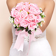 """Wedding Flowers Round Roses Bouquets Wedding Silk Pink 11.8""""(Approx.30cm)"""
