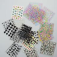 50PCS 3D Design Nail Art Matricák tippek Manikűr (Mixed Random Styles)