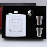 padrino de boda regalo personalizado 4 piezas de acero inoxidable frasco de 6 onzas en caja de regalo
