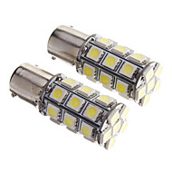 2PCS BAY15D 1156 27 SMD 5050 LED bil Tail Stop Brake blinklys Hvid 12V