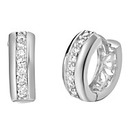 Platinum Plated With Rhinestone Women's Huggie Earring(More Colors)