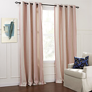 Two Panels Country Plaid/Check Pink Living Room Polyester Panel Curtains Drapes