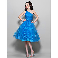 Homecoming Homecoming/Cocktail Party/Prom Dress - Ocean Blue Plus Sizes A-line One Shoulder Knee-length Tulle