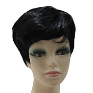 Lixiaolong 가발 캡이 합성 검은 색 짧은 똑 바른 합성 머리 가발