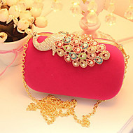 Women Velvet Event/Party Evening Bag Red Fuchsia