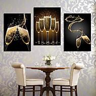 Stretched Canvas Konst Romantisk Splash The Wine Set om 3