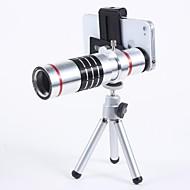 Aluminio universal Set aleación 18X Lente zoom telefoto con clip de metal - plata