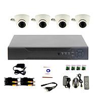 Sistema de CCTV DIY con 4 cámaras de la bóveda de interior para Oficina y Hogar