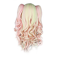 High Quality Cosplay Synteettinen Wig Harajuku Style Lolita Candy monivärivalo Aaltoileva Long Wig