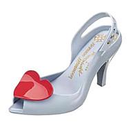 Plast Kvinners Kitten Heel Peep Toe Sandaler Sko (flere farger)