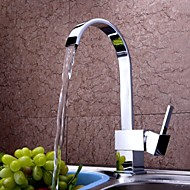 Contemporary Tall/­High Arc Deck Mounted Waterfall with  Ceramic Valve Single Handle One Hole for  Chrome , Kitchen faucet