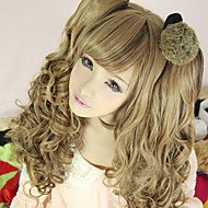 Harajuku Style Cosplay Synteettinen Wig Lolita Bunches aaltoileva Wig neekeri-Brown