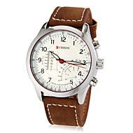 Men's Fan-shaped Small Dial Round Dial PU Band Quartz Analog Wrist Watch (Assorted Color) Cool Watch Unique Watch