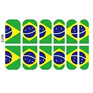 12 db 3D Full Finger Nail tippek matricákat Brazil Football Fans